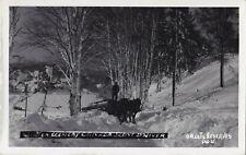 Hauling Logs Scene d'Hiver Comté TERREBONNE Quebec 1946-48 Carte Photo PG.V.