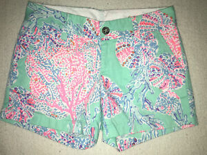 NWOT Lilly Pulitzer Womens Callahan Shorts Minty Fresh Fansea - Size 0