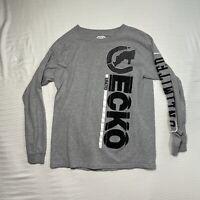 ECKO Unltd Mens Medium Gray Graphic T-Shirt Long Sleeve Black White Logo Rhino