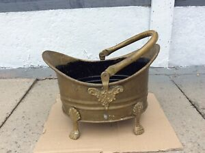 Vintage Brass Scuttle With Pawfeet