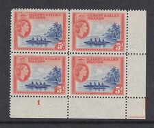 GILBERT & ELLICE 1956 5d IN PLATE BLOCK SG 69 MINT.