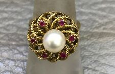 Vintage 18KT Yellow Gold Pearl And Ruby Ring, Ring Size 7.75