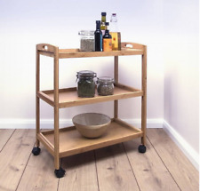 3 Tier Bamboo Wood Rolling Kitchen Serving Trolley Cart With Wheels Storage