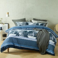 Bianca Chalet Blue Super King Size Duvet Doona Quilt Cover Set