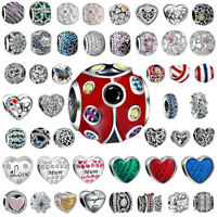 European Heart Love Silver Charms Bead Fit sterling 925 Necklace Bracelet Chain