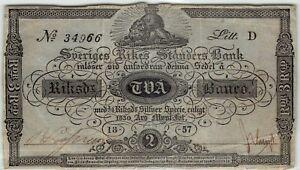 Rare Sweden 2 Riksdaler Banco 1836-57 A124b Banknote - b07