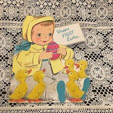 Vintage Greeting Card 1st Easter Girl Egg Chicks Norcross