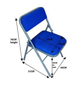 BLUE Folding Chair FABRIC Padded Seat Back Rest Computer Office Study Home Work