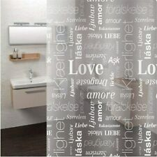 Shower Curtain +12 Hooks Clear Letter Print Mold Waterproof Resistant Bathroom