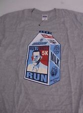 "Gildan Gray T-Shirt FORREST GUMP MILK CARTON 5K ""Run"" Bubba Gump Riverdogs Large"