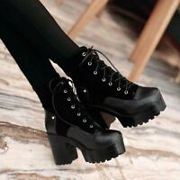US4-11 Fashion womens vintage chunky heel platform lace up ankle boot block heel