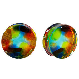Multi-Color Pyrex Glass Ear Double Flare Gauges Tunnels Plugs Jewelry