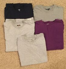Lot of 5 Long Sleeve Crew Neck T Shirt Men's Size L Free Shipping