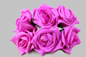 6 Head 5cm Artificial Colourfast Foam Rose Bunch - Fuchsia - Wedding Flower
