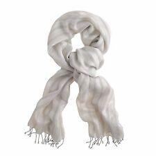 $55 NEW J CREW Metallic Stripe Scarf Seasonless Gray/Silver GOES WITH EVERYTHING