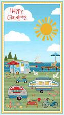 Caravan Glamping Beach Camping BBQ Picnic Quilt Fabric Apron Panel *New*