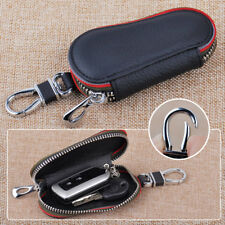 "4"" PU Leather Car Remote Key FOB Holder Bag Storage Case Cover Chain Ring Zipper"