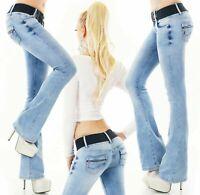 Women's bootcut jeans flare pants zip stretch denim light blue belt XS S M L XL