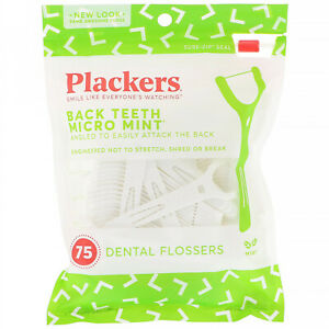 Plackers, Back Teeth Micro Mint, Dental Flossers, Mint, 75 Count