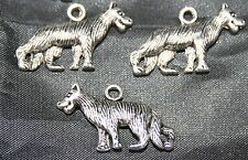 30 x Silver Plated Wolf or Dog Pendants / Charms