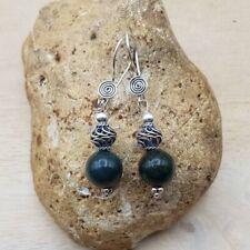 Bloodstone earrings. March Birthstone Handmade Reiki jewellery