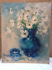 16x20 Print on Hardboard White Flowers in Vase. Signed (Unknown)