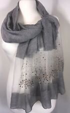 NEW Grey Scarf Pashmina Silky Rose Gold Diamantés & Studs Sparkly Weddings Long