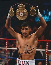 Amir KHAN Signed 10x8 Autograph Photo AFTAL COA World Champion Boxer Genuine