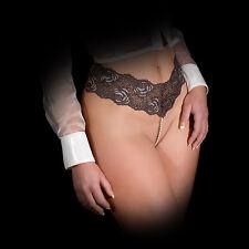 sexy String Tanga Spitze Perlen Perlenkette Dessous Reizwäsche schwarz OS 34-38