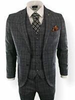 Mens 3 Piece Suit Grey Blue Tweed Tailored Fit Peaky Blinders Vintage Wedding