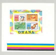 Ghana #745 Rotary, Maps, Hunger, Medicine 1v Proof of S/S with Color Bards
