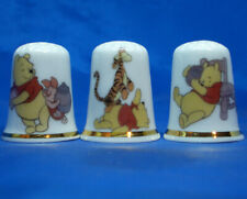 Birchcroft China Thimbles -- Set of Three -- Winnie the Pooh and Friends