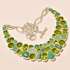 96 Gm Natural Chrysoprase Cab,Peridot Cut Silver Overlay Necklace Ss-508