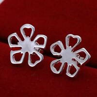 *UK Shop* 925 SILVER PLT HOLLOW DAISY FLOWER STUD EARRINGS POPPY LUCKY CLOVER