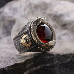 Amazing Blood Red Cabochon Ruby Dragon's Treasure Men's 925 Real Silver Ring