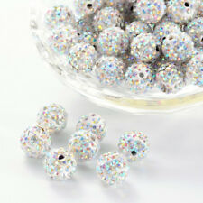 100Pcs Round Crystal AB Color Polymer Clay Rhinestone Pave Disco Ball Beads 10mm