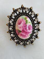 NWOT MACY'S Antique Gold Enamel Roses Cameo Statement Ring 7 Rhinestones Jewelry