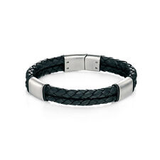 Fred Bennett Stainless Steel and Black Leather Bracelet with Brush Finish B4373