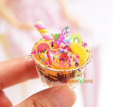 Food Dollhouse Miniature Chocolate Icecream sundae w/plastic cup for Doll