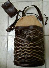 Fendi Palazzo  Brown Leather & Beige  Drawstring, Large Bucket  Shoulder Bag