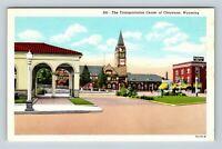 Cheyenne WY, Train Bus Depot, Albany Hotel, Clock, Vintage Wyoming Postcard