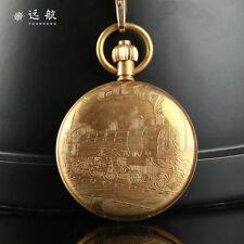Vintage Train Full Hunter Mechanical Pocket Watch Hand Winding Copper Mens Watch