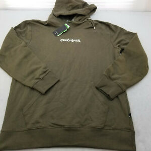 QUIKSILVER HOODIE FRONT AND BACK PRINT Men's Long Sleeve Color OLIVE Size LARGE