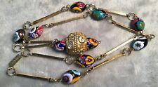 Millefiori art Glass Bead Lariat Rhinestone Drop Antique Necklace