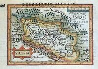 POLAND, SILESIA, WROCLAW, P.BERTIUS original antique miniature map 1618