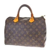 Authentic LOUIS VUITTON Speedy 30 Hand Bag Monogram Leather Brown M41526 65MF238