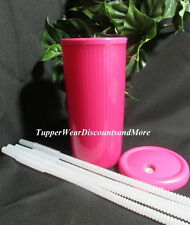 Tupperware New Dark Pink Insulated Tumbler Cup WHITE DripLess Straw Seal Straws
