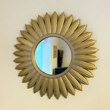Vintage Gold Wood Frame Sunburst Home Decorative Round Glass Wall Mirror Large