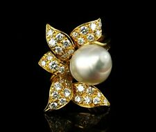 FLAWLESS COLORLESS NATURAL DIAMOND 12MM SOUTH SEA PEARL 18K GOLD FLOWER RING