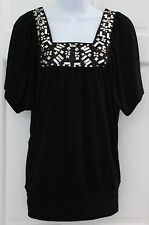 Trixxi Womens Black Slinky Tunic Top SZ S Stretchy Silver Sequins Short Sleeve